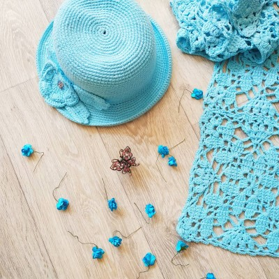 """Knitted scarf """"Turquoise"""""""
